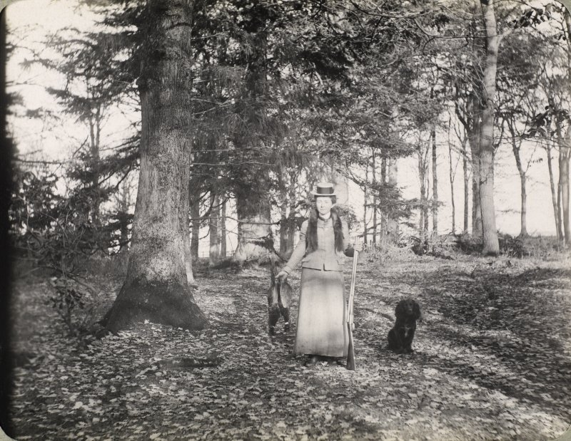 View of woman hunting probably in the grounds of Inchrye Abbey.