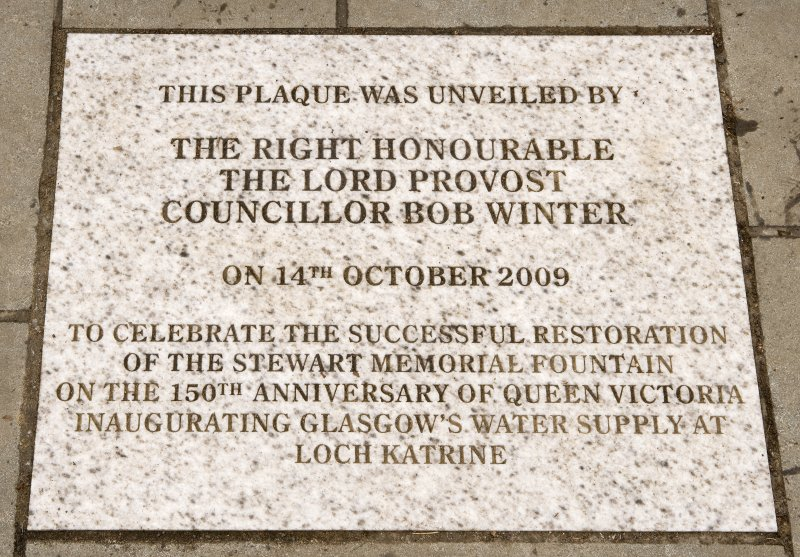 Detail of commemorative paving stone, to mark the restoration of the Stewart Memorial Fountain, Kelvingrove Park, Glasgow