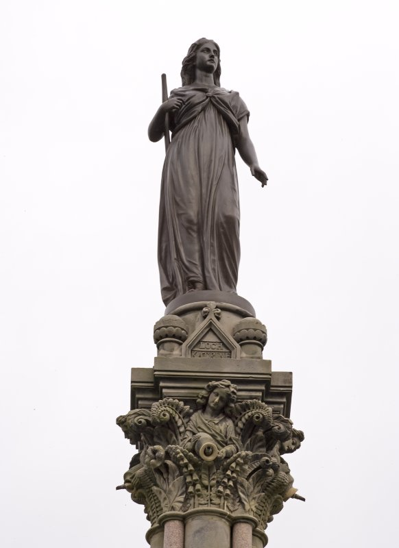 Detail of statue (Ellen Douglas, the Lady of the Lake) as restored atop the Stewart Memorial Fountain, Kelvingrove Park, Glasgow