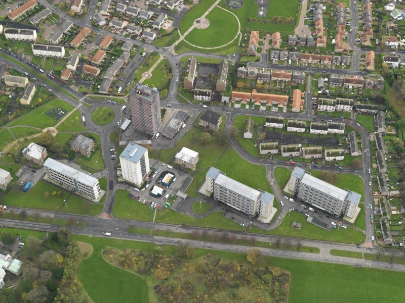 General oblique view centred on Muirhouse, taken from the NNW.