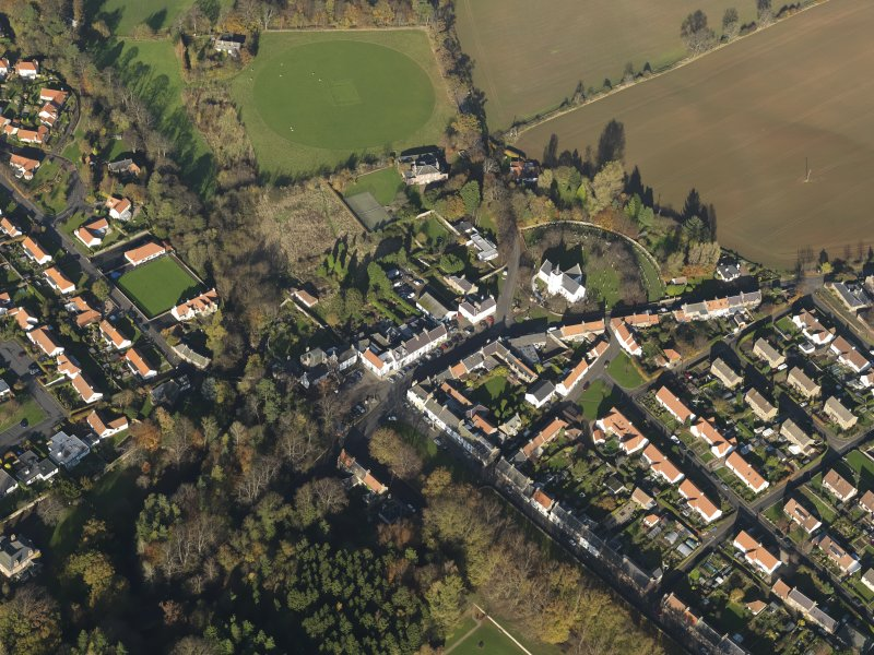 Oblique aerial view centred on the village, taken from the SSW.