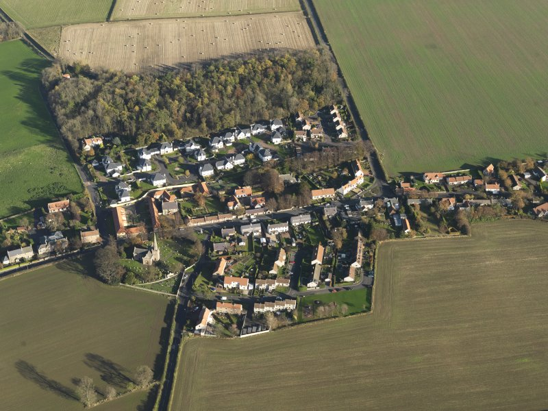 General oblique aerial view of the village, taken from the WSW.