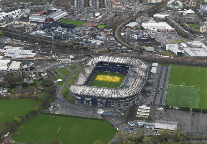 Oblique aerial view centred on Tynecastle Park stadium, Edinburgh, taken from the NNW.