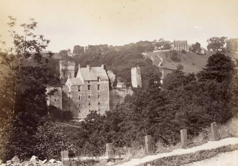 View from SW. Titled: 'Rosslyn Castle and Chapel JP. 31'.