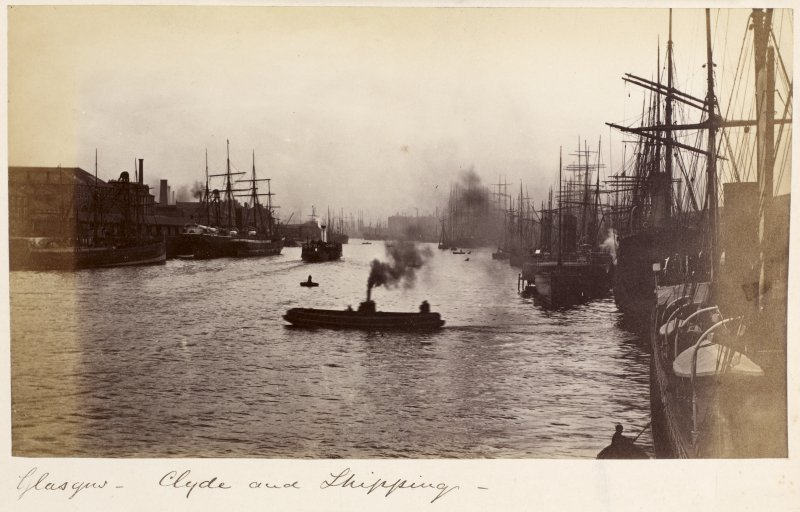 Glasgow, Docks. General view of Clyde. Insc: 'Glasgow - Clyde and shipping'.