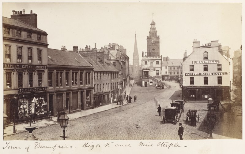 General view. Titled: 'Town of Dumfries. High St and Mid Steeple'.