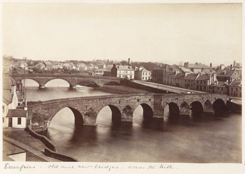 General view looking down on bridges across the Nith.