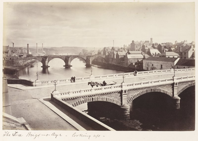 General view. Titled: 'The Twa Brigs-o-Ayr - looking up'.