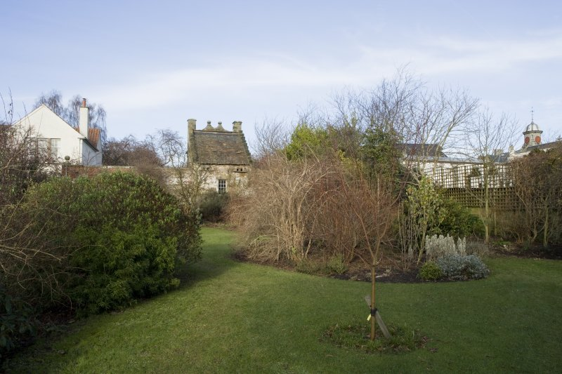 Garden and dovecot from south.