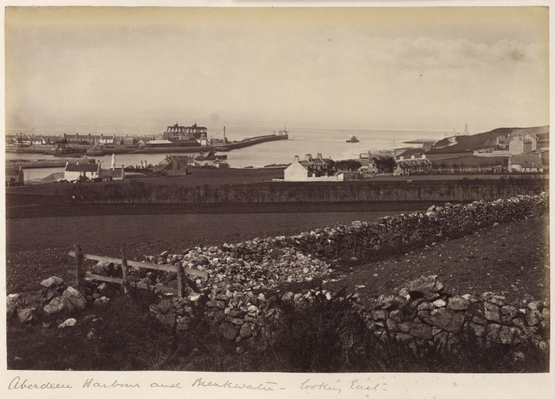 View looking East. Titled: 'Aberdeen Harbour and breakwater - looking East'