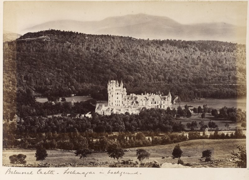 View of Balmoral Castle, Aberdeenshire, from North.  Titled: 'Balmoral Castle - Lochnagar in background'.