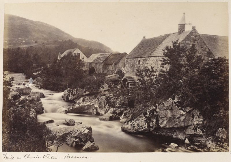 View of Mill of Auchendryne, Aberdeenshire. Titled: 'Mill on Clunie Water - Braemar'.