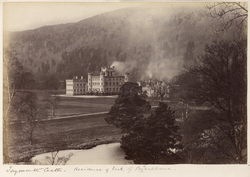 "General view of castle and grounds. Titled: ""Taymouth Castle  residence of the Earl of Breadalbane"""