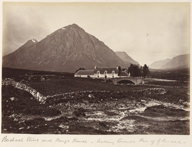 View of Kings House Hotel and the bridge over river Etive.  Titled: 'Buchall Etive and Kings House - looking towards Pass of Glencoe'.