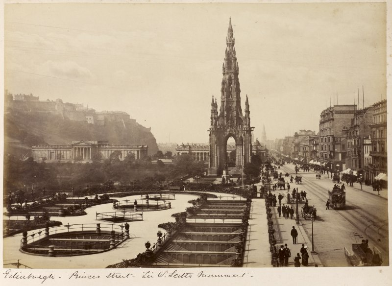General view Titled: 'Edinburgh - Princes Street - Sir W Scotts Monument'