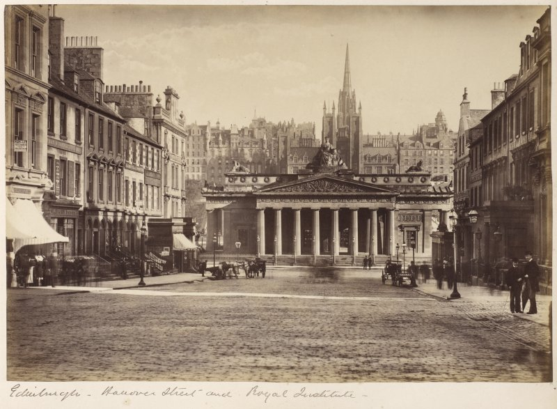 View of Hanover Street, Edinburgh and the Royal Institution, now the Royal Scottish Academy.  Titled: 'Edinburgh - Hanover Street and Royal Institute'