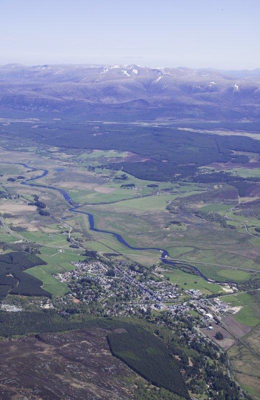 General oblique aerial view of Kingussie lloking down the Spey, taken from the W.