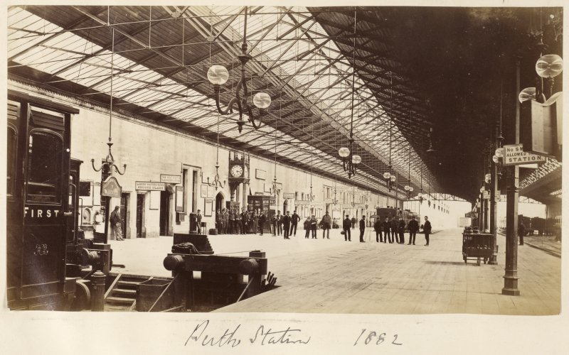 Interior view of Perth Station.  Titled: 'Perth Station 1882'
