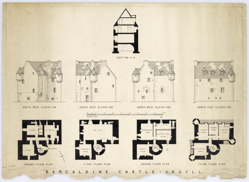 Barcaldine Castle. Ground, first, second and third floor plans, elevations and section. Title: 'Barcaldine Castle, Argyll'. Insc: 'Leslie Grahame - Thomson,  R.S.A. F.R.I.B.A. Architect, 6 Ainslie Place Edinburgh, 3.'