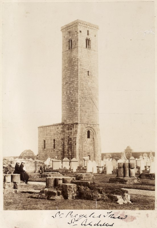 View of St Rule's tower and surrounding church yard from SW.  Titled: 'St Regulus Tower, St Andrews'