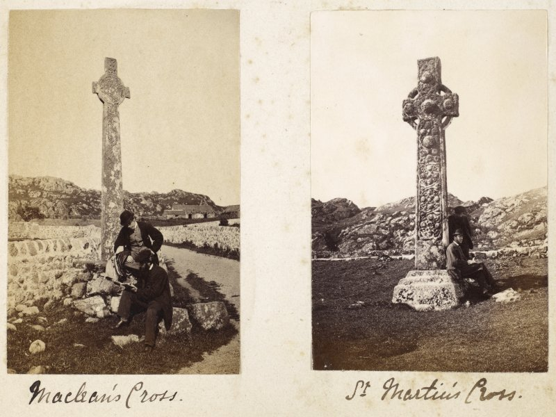 Album page showing crosses on Iona.  Titled: 'Maclean's Cross' and 'St Martin's Cross'.