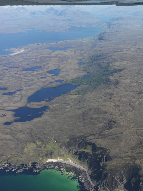 General oblique aerial view of Loch an Draing (in foreground) and Loch Ewe, taken from NW.