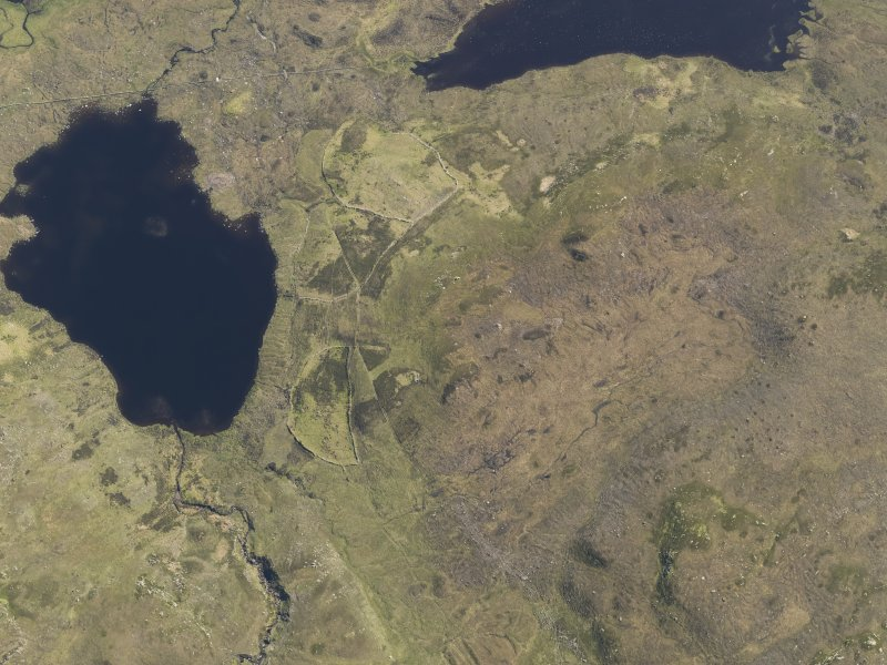 Oblique aerial view centred on the field system at Lochan nan Breac, taken from the N.
