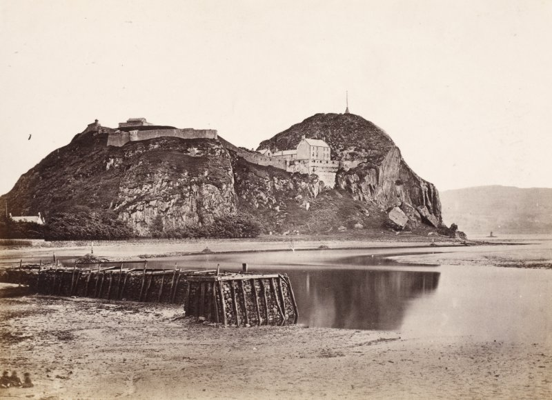 "Page 15/5 General view of Dumbarton Rock. Titled ""Dumbarton Rock."" PHOTOGRAPH ALBUM NO: 146   :  THE ANNAN ALBUM"