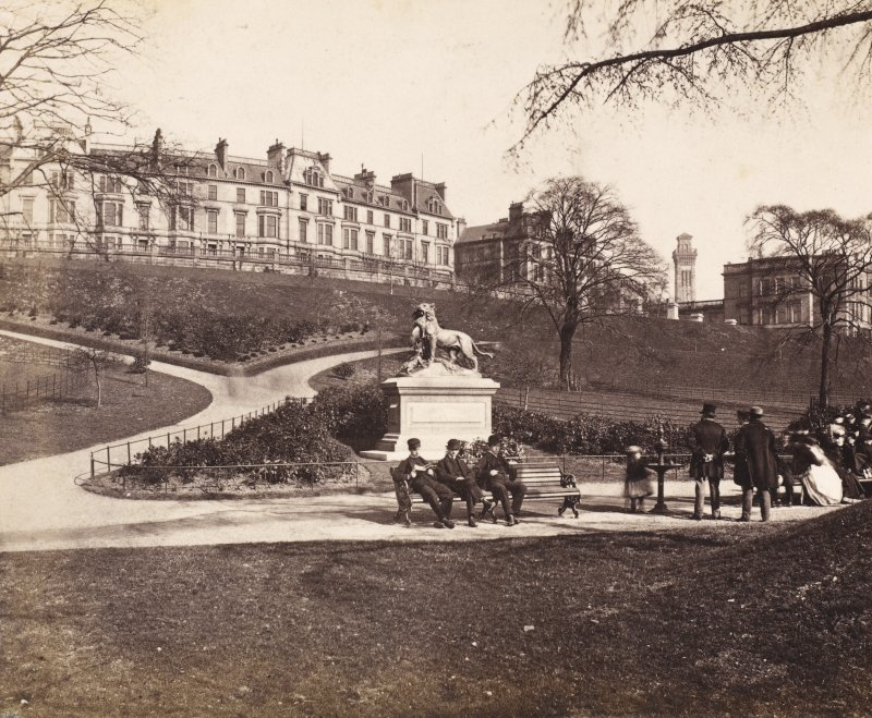 General view of Kelvingrove Park, Glasgow, with Lioness and her cubs, by Cain. PHOTOGRAPH ALBUM NO.146. THE ANNAN ALBUM