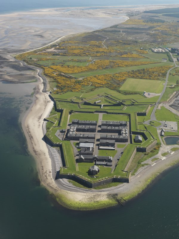 General oblique aerial view of Fort George, taken from the W.