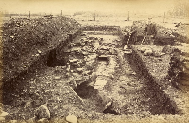 Copy of original photograph showing masonry near the west gate of Ardoch Roman Fort. From the Society of Antiquaries of Scotland excavations in 1896-7.
