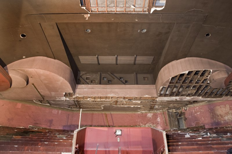 Interior. Auditorium. Decorative scheme remains and projection room. Detail