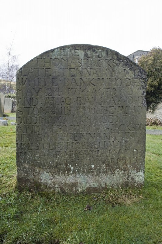 Detail of gravestone to Thomas Jacks and Barbara Johnston dated 1714.