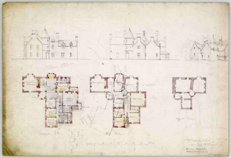 Perssepctive, plans and elevations.
