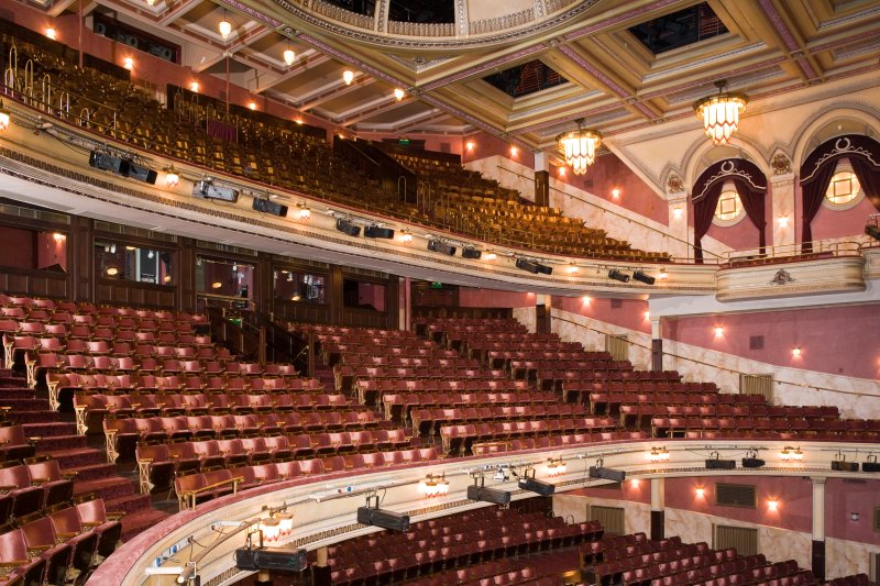 Interior. Auditorium, Grand Circle and Upper Circle from NW
