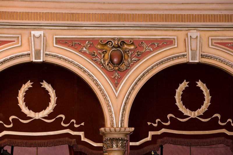 Interior. Auditorium, detail of decoration above boxes