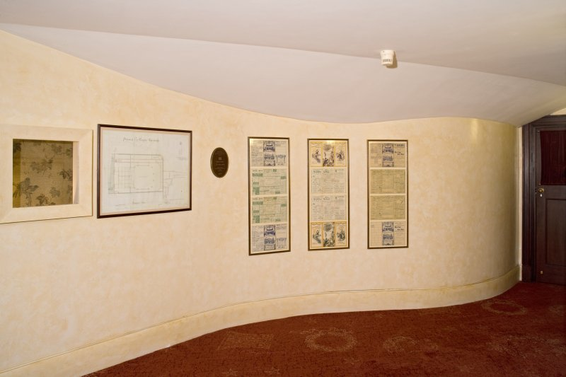 Interior. 1st floor, corridor ouside Matcham lobby showing material from Empire Palace