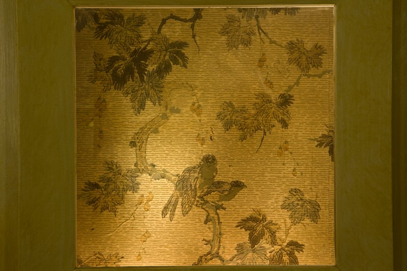Interior. 1st floor, corridor outside Matcham lobby, detail of sample of original wallpaper