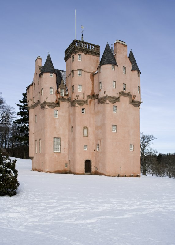 View from the South of Craigievar Castle, Aberdeenshire, in the snow.
