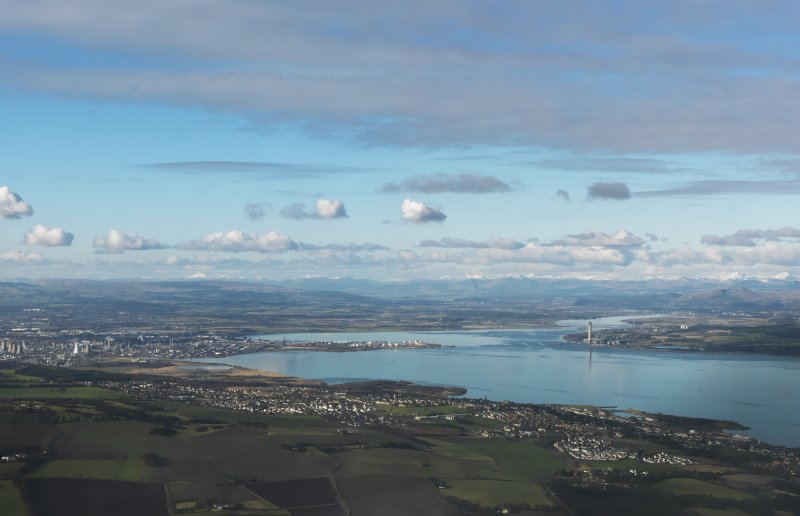 General oblique aerial view looking up the Forth valley past Kincardine to the mountains beyond, taken from the E.