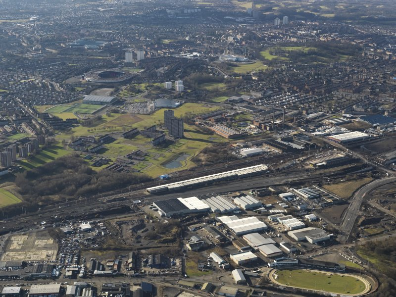 Oblique aerial view of the power motive works looking SW towards Hampden Park stadium, taken from the NE.