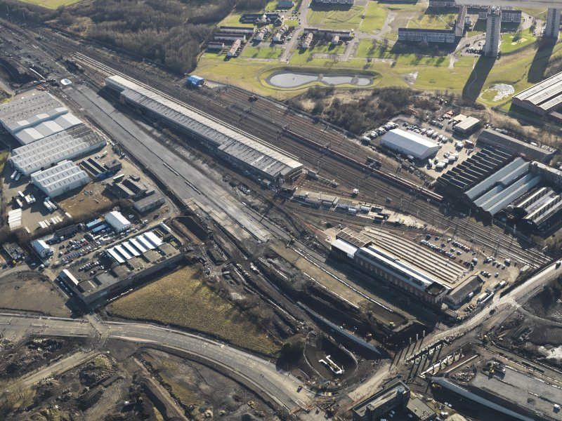 Oblique aerial view centred on the Motive Power depot, taken from the N.