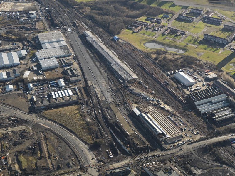 Oblique aerial view centred on the Motive Power depot, taken from the NNW.