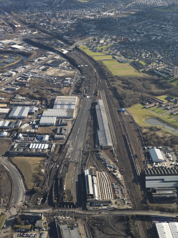 Oblique aerial view centred on the Motive Power depot, taken from the NW.