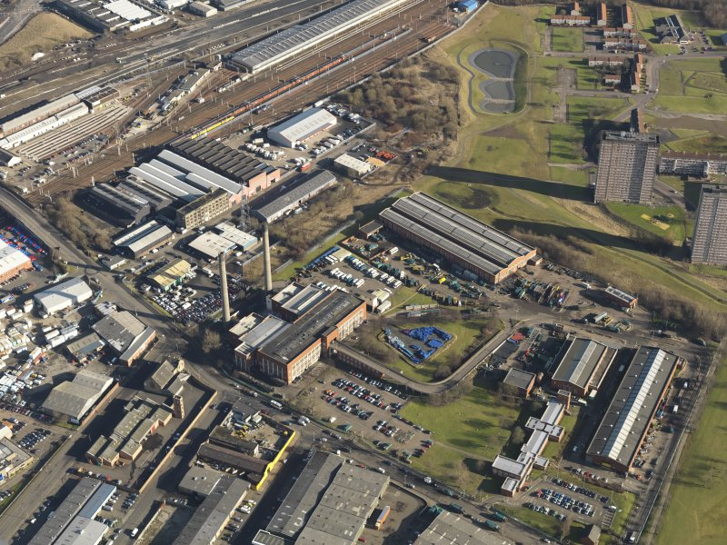 Oblique aerial view centred on the fire brick works, taken from the W.