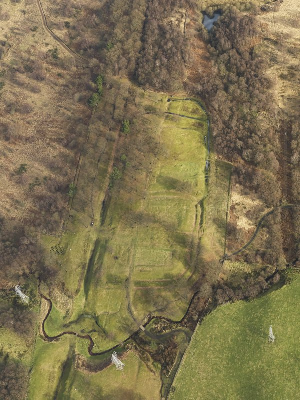 SW oblique aerial view of Rough Castle Roman Fort and the course of the Antonine Wall.
