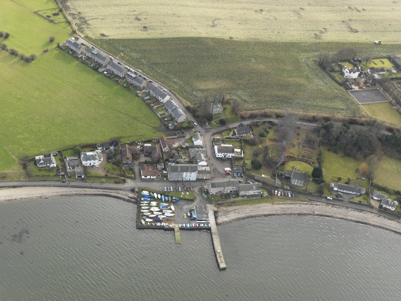 General oblique aerial view of Blackness village centred on the harbour, taken from the NNW.
