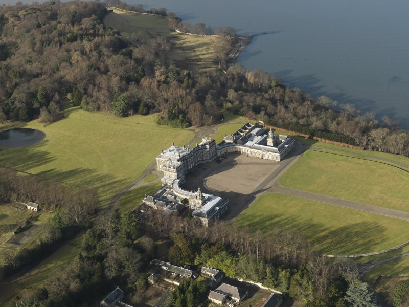 General oblique aerial view of the estate centred on Hopetoun House, taken from the SE.