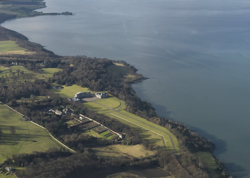 General oblique aerial view of Hopetoun estate centred on the house, taken from the E.