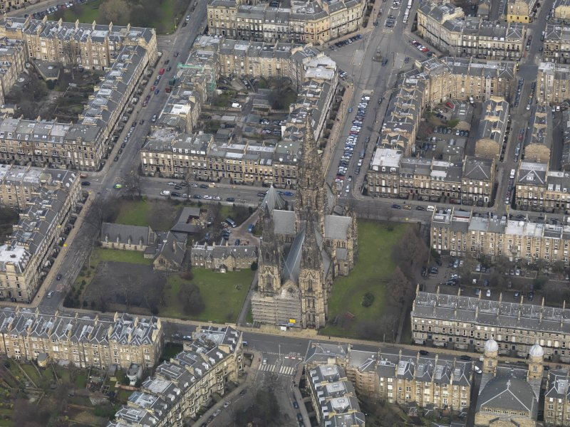 General oblique aerial view centred on the cathedral, taken from the SSW.
